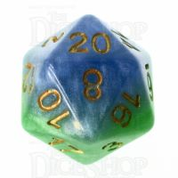 Halfsies Pearl Mother Earth Land Green & Sea Blue D20 Dice