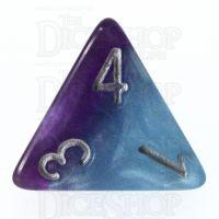 Halfsies Pearl Psionic Combat Violet & Cyan D4 Dice