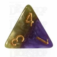 Halfsies Pearl Queens Royal Purple & Soft Gold D4 Dice