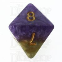 Halfsies Pearl Queens Royal Purple & Soft Gold D8 Dice
