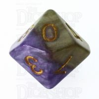 Halfsies Pearl Queens Royal Purple & Soft Gold D10 Dice