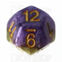 Halfsies Pearl Queens Royal Purple & Soft Gold D12 Dice