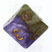 Halfsies Pearl Queens Royal Purple & Soft Gold Percentile Dice