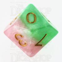Halfsies Pearl Pose Pink & Thorn Green D10 Dice