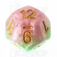 Halfsies Pearl Pose Pink & Thorn Green D12 Dice