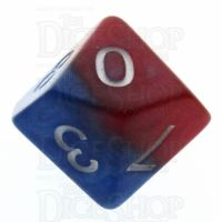 Halfsies Pearl Spider Red & Heroic Blue D10 Dice