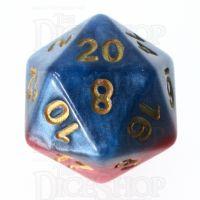 Halfsies Pearl Superdice Super Blue & Heroic Red D20 Dice