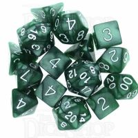 Role 4 Initiative Marble Green & White 15 Dice Polyset