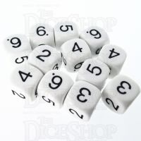 CLEARANCE D&G Opaque White 14mm Numbered 12 x D6 Dice Set