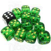 Role 4 Initiative Translucent Green & Gold 12 x D6 14mm Dice Set