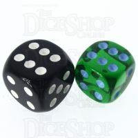 Role 4 Initiative Translucent Green & Blue 14mm D6 Spot Dice
