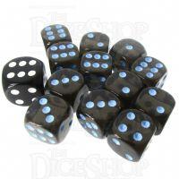 Role 4 Initiative Translucent Black & Blue 12 x D6 14mm Dice Set