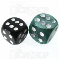 Role 4 Initiative Marble Green & White 18mm D6 Spot Dice