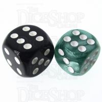 Role 4 Initiative Marble Green & White 14mm D6 Spot Dice