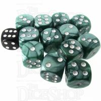 Role 4 Initiative Marble Green & White 12 x D6 18mm Dice Set