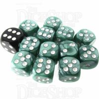 Role 4 Initiative Marble Green & White 12 x D6 14mm Dice Set