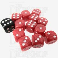 Role 4 Initiative Marble Red & White 12 x D6 14mm Dice Set