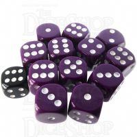 Role 4 Initiative Opaque Purple & White 12 x D6 18mm Dice Set