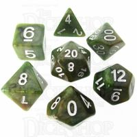 TDSO Marbleised Green & Gold 7 Dice Polyset