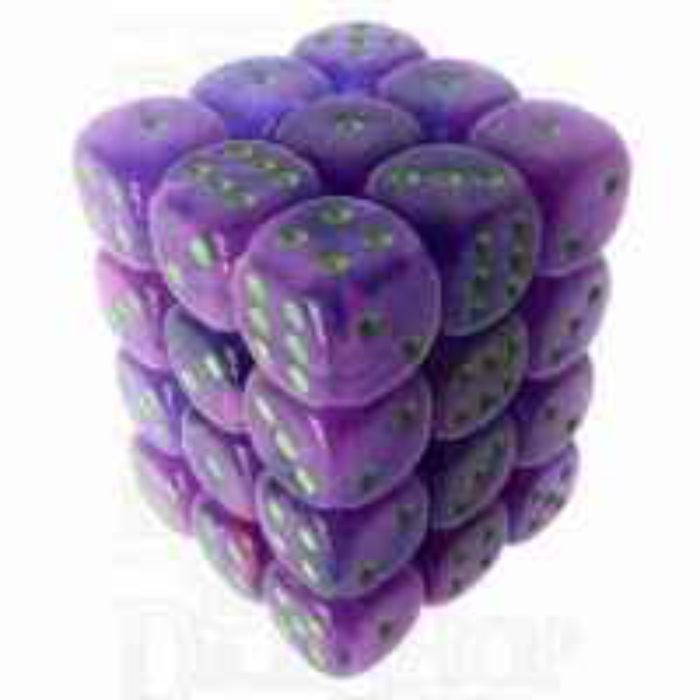 Würfelzeit Cosmoo Tornado Purple & Neon Green 36 x D6 Dice Set