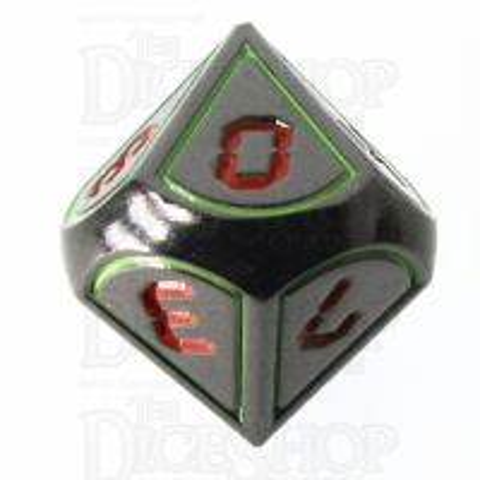 TDSO Metal Tech Black Nickel Glow & Red D10 Dice