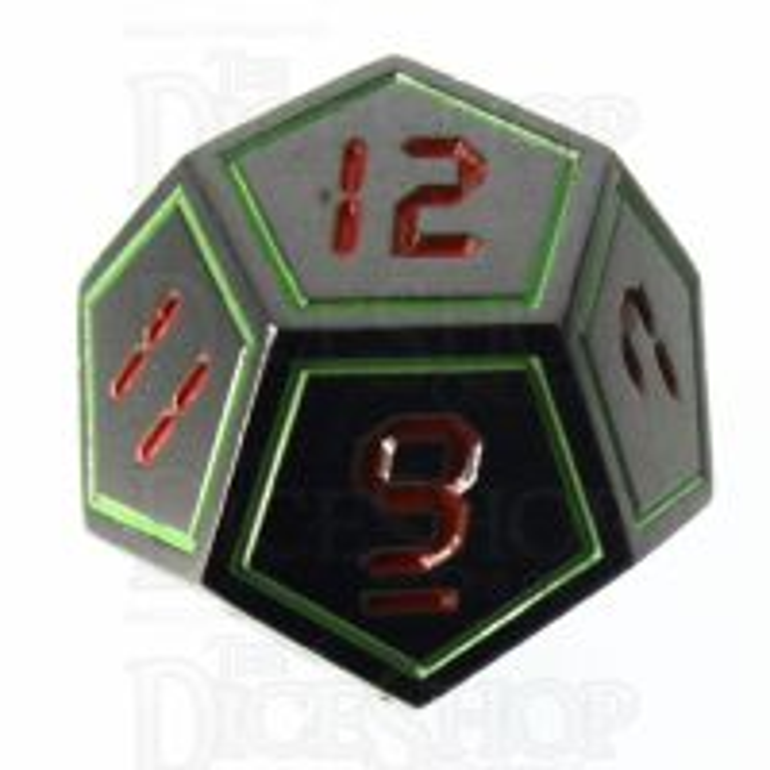 TDSO Metal Tech Black Nickel Glow & Red D12 Dice