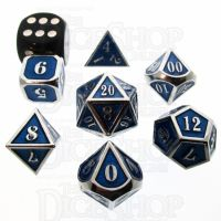 TDSO Metal Fire Forge Silver & Sapphire MINI 12mm 7 Dice Polyset
