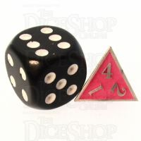 TDSO Metal Fire Forge Silver & Fluorescent Pink MINI 12mm D4 Dice