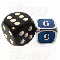 TDSO Metal Fire Forge Silver & Sapphire Blue MINI 12mm D6 Dice