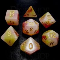TDSO Opalescence Red & Yellow 7 Dice Polyset