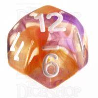 TDSO Pearl Swirl Purple & Orange D12 Dice