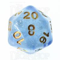 TDSO Glitter Transparent Blue D20 Dice