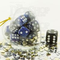 TDSO Valentines Day Heart Bauble - Duel Blue & Steel 12 x D6 Dice Set