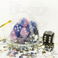 TDSO Valentines Day Heart Bauble - Duel Blue & Pink 12 x D6 Dice Set