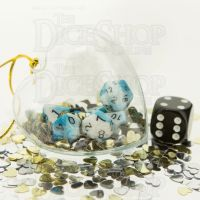 TDSO Valentines Day Heart Bauble - Duel Teal & White MINI 10mm 7 Dice Polyset
