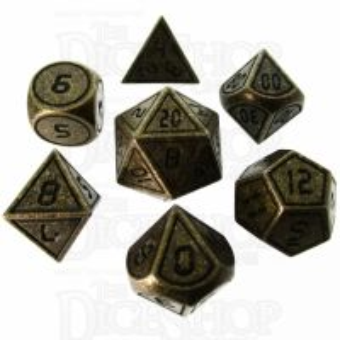 TDSO Metal Tech Antique Gold & Black 7 Dice Polyset