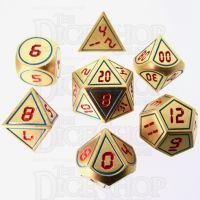 TDSO Metal Tech Gold Blue & Red 7 Dice Polyset