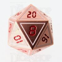 TDSO Metal Tech Copper White & Red D20 Dice