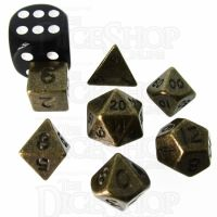 TDSO Metal Antique Gold MINI 10mm 7 Dice Polyset