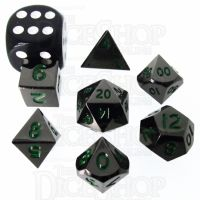 TDSO Metal Black Nickel & Green MINI 10mm 7 Dice Polyset