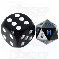 TDSO Metal Black Nickel & Blue MINI 10mm D20 Dice