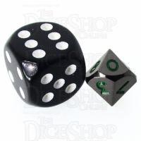 TDSO Metal Black Nickel & Green MINI 10mm D10 Dice
