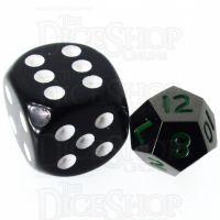 TDSO Metal Black Nickel & Green MINI 10mm D12 Dice
