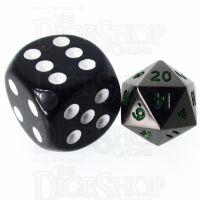 TDSO Metal Black Nickel & Green MINI 10mm D20 Dice