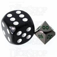 TDSO Metal Black Nickel & Green MINI 10mm Percentile Dice