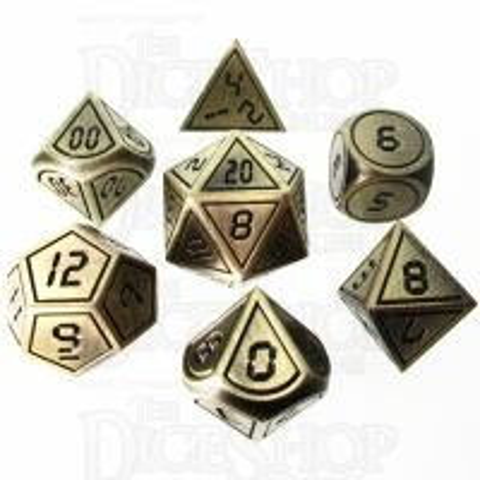 TDSO Metal Tech Gold & Black 7 Dice Polyset