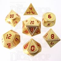 TDSO Metal Tech Gold White & Red 7 Dice Polyset