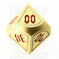 TDSO Metal Tech Gold White & Red Percentile  Dice