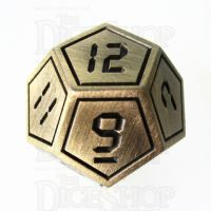 TDSO Metal Tech Gold & Black D12 Dice