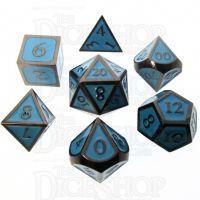 TDSO Metal Script Black Nickel & Blue 7 Dice Polyset